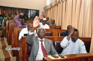 Des députés  votants dans au parlement
